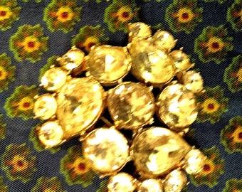 Charming Round Rhinestone Brooch No Trademark
