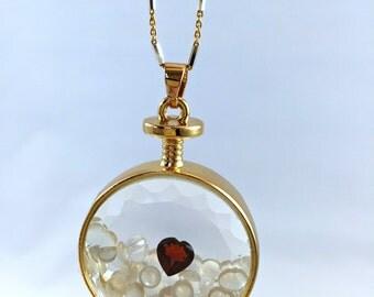 Floating Gemstone Locket Pendant Necklace with Moonstones and Garnet Heart