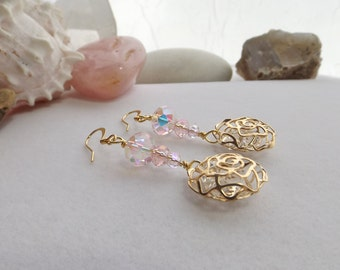Dangle, Drop, Pink and Gold Flower Cage Earrings with Pink Crystals, Jesse James Cage Beads for Summer, Spring, Mother's Day, Weddings, OOAK