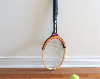 Vintage Donnay Tennis Racket Solid Wood Made in Belgium 1970s Sporting Goods