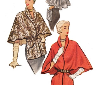 McCall 8215 Misses' Vintage 1950s Classy Evening Cape Stole Sewing Pattern