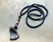 Beautiful frosted lapis lazuli gemstone mala necklace