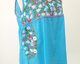 Hand Embroidered Mexican Top Cotton Sleevess Top, Mexican Tank Top, Boho Top