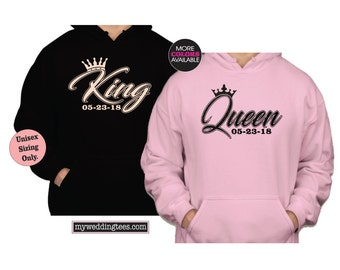 KING and QUEEN Hoodies. Newlywed Hoodies. Wedding Hoodies. Honeymoon Hoodies. King Hoodie. Queen Hoodie. Anniversary Hoodies. Bride. Groom