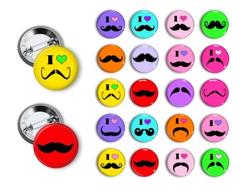 I Heart Mustache Pins Mustache Buttons Mustache party Favors 1.25 inch pinback buttons pins badges magnets