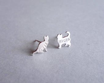 Personalized Cat Earrings, sterling silver