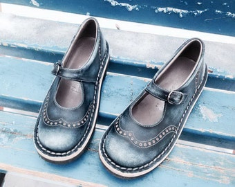 Leather mary janes TEIDE in dark blue