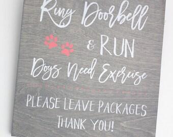Wooden front door sign-Front door decor-Dog sign - HD-48