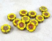 Czech Beads, Czech Glass Flower Beads, 12mm Hibiscus Flower - Bright Lemon Yellow (FL12/N-0075) - Qty. 6