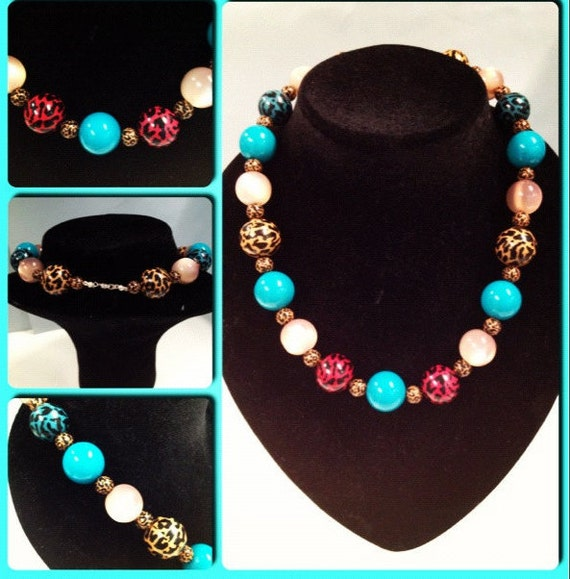 Kitsch Rockabilly Cheetah Beaded Necklace Retro Pin Up