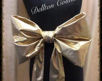 Extra Large Gold Lame Bridal Sash Bow
