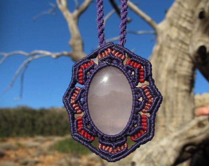 Rose quartz macrame healing stone pendant