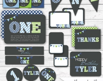 1st Birthday Party, Boy's First Birthday Party Package, Blue and Green ONE Party Printables, Boys Printable Party Kit  Stripes Polka Dots