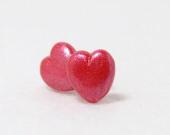 Shimmery Heart Earrings - Polymer Clay Post Earrings - Heart Studs - Heart Jewelry - Valentines Earrings - Hypoallergenic Titanium Studs