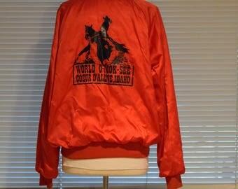 Red Satin 'Capricorn' Rodeo Jacket /  'O-Mok-See' / Coeur D'Alene, Idaho Bomber Jacket / Coat - Women's Medium / Men's Small