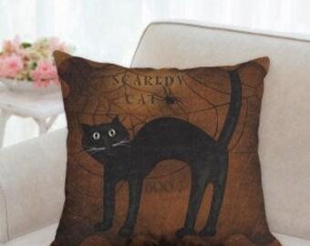 Scary Cat Halloween Pillow