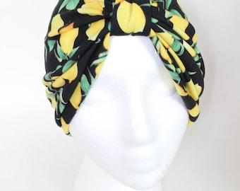 Lemon Turban, Fashion Turban, Cotton Turban, Stylish Turban, Hairloss Turban, Summer Hat, Ladies Summer Headcover, Front Twist Hat, Turban
