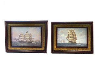 2 Vintage Nautical Ship Prints Professionally Framed - Mid Century Maritime Clipper Ship Sailing Wall Art Beach Lake House Ocean Boats Blue