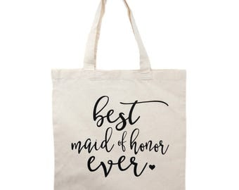 Maid of Honor Tote Bag Gift, Matron, Bridal Party Tote Bags, Wedding Canvas Bags, Bridesmaid Gifts, Mother of Bride/Groom Gifts, Flower Girl