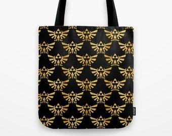 Zelda Tote Bag, Triforce Tote Bag, The Legend of Zelda Tote Bag, Triforces in Gold Tote, Hylian Royal Crest Tote Bag, Zelda Bag,