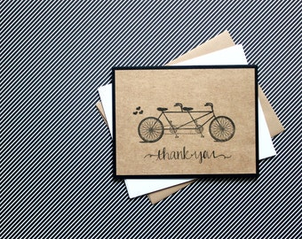 Tandem Bicycle Cards, Thank You Cards Set, Tandem Bike cards, Handmade Bicycle Cards, Wedding Thank You, Thank You Cards, Bicycle Cards