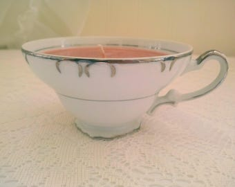 Ready to Ship! Great Housewarming Gift! - Hot Cocoa scented 100% Natural Soy Candle in Vintage Teacup with Saucer - Mother's Day