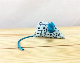 Floral Blue Mouse Cat Toy, kitten toy, Blue