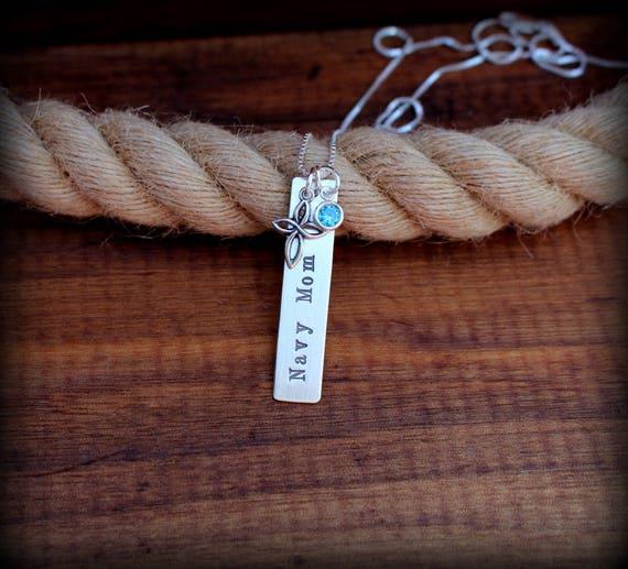 Sterling silver Navy Mom necklace, military jewelry, sterling silver jewelry, proud mom necklace, Navy girlfriend jewelry, Navy wife jewelry