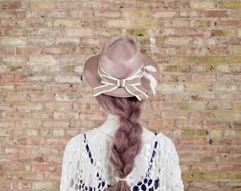 straw fedora / vintage fedora / straw summer hat / derby hat / beige hat / retro hat / short brim hat / womens summer hat / sun hat