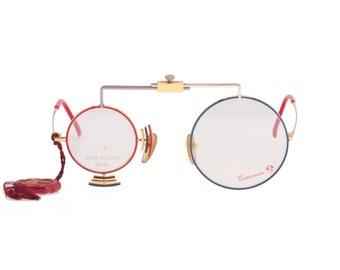Casanova C-01 24 K Gold limited edition MOMA N.Y. round antique optical instrument inspired collectors eyeglasses frames, NOS 1980s