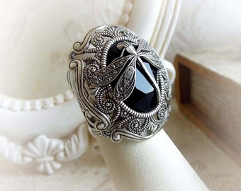 Dragonfly black gothic ring Swarovski crystal victorian ring fantasy ring antique silver medieval ring gothic baroque ring statement ring