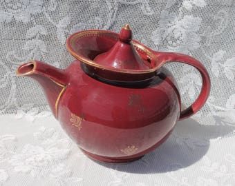 Vintage HALL TEAPOT 6-Cup  Made in USA - Maroon Dark Mauve - Mid Century Modern Retro - Gold Trim Roses