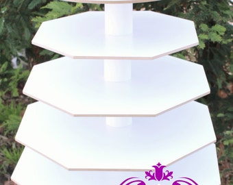 Cupcake Stand Octagon with Round Top Plate White Melamine Wood 100 Standard Cupcakes Dessert Centerpiece Party Wedding Birthday