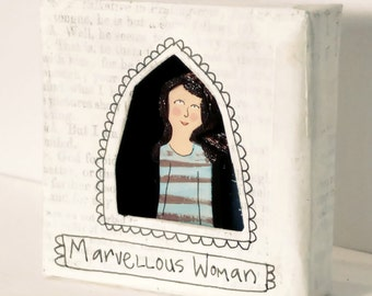 Marvellous Woman Shrine: miniature art, feminist art, love token, girlfriend gift, Mum, Mom, little present, icon, friend, family, diorama