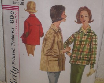 Vintage Simplicity Sewing Jacket Pattern Misses Jacket in Two Lengths  size18  #5182