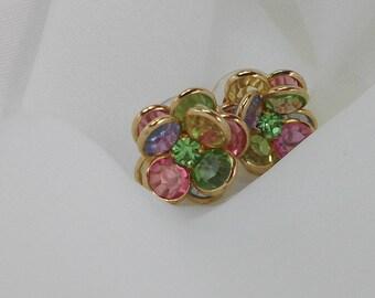 Rainbow Pastel Faceted Crystal Post Earrings  2600