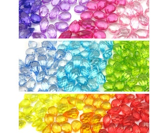 Acrylic Gems - Choose your color - 20 mixed Gem Charms for DIY Charm Bracelets - Kawaii Charms - Cute Gem Charms - Rainbow Colors - Set 07S