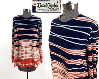 Vintage 70s Red + White + Blue Striped Blouse Size 16 // David Crystal //  Horizontal Stripes // Mod // Retro // Preppy // 1970s // America
