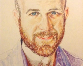 Colored pencil portrait. Handsome man. Beardy man. Custom portrait