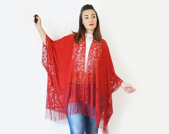 4th July Summer Outdoors Summer Party Lace Kimono Boho Kimono Red Kimono Fringe Kimono Fringe Pareo Girlfriend Gift For Mom Gift/ KIMONO