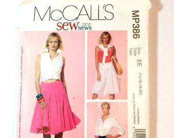 McCall's MP386, Women's Skirt Pattern, Size 14, 16, 18, 20, Uncut Pattern