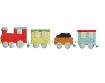 Train Classic Vintage Fill Stitch Design File for Embroidery Machine Monogram Instant Download