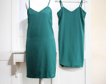 Jade Satin Slip Dress, Jade Lingerie, Emerald Satin Dress, Satin Pyjamas