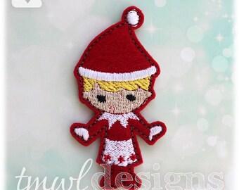 """Shelved Scout Christmas Elf Girl Doll Feltie Digital Design File - 1.75"""""""