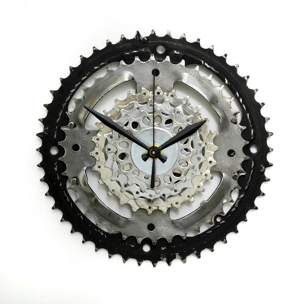 Steampunk Wall Clock Steampunk Decor Gift For Him Bike Gear