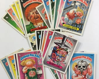 Garbage Pail Kids Topps Gross Trashy Funny Spoof Rad Collectible Cartoon Drawing Art Trading Cards Stickers Gum GPK Lot of 30 1980s 80s