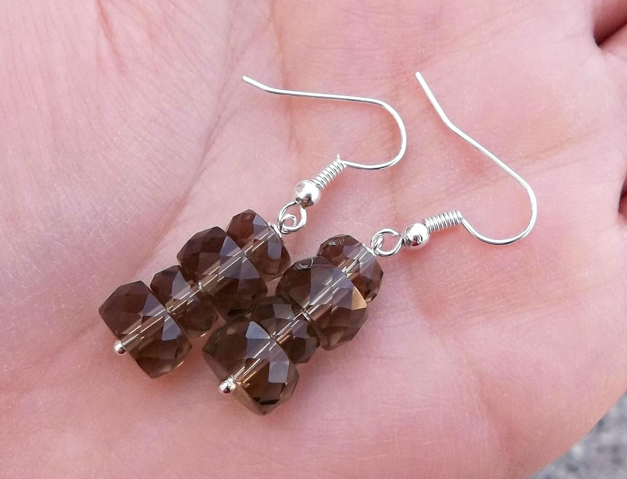 Real Natural Sparkling Light Brown Quartz Gemstone Beaded Swarovski ...