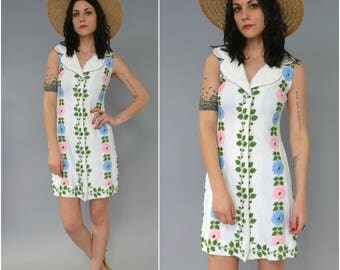 1960s embriodered floral shift dress