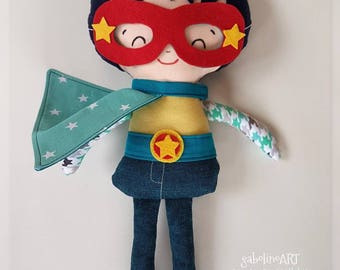Superhero-Dress up doll-Keepsake-Rag doll-With cape-For birthday-Unique gift-Collectible-For boys-Babyshower-Action doll-Smart boy doll