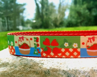 Strawberry Picnic 1 Inch Width Dog Collar